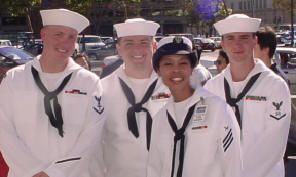 Enlisted navy dress white uniform with medals